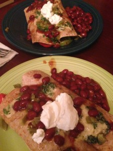 the simple enchiladas arrive at the table