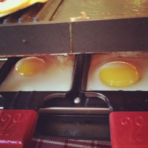 eggs in the Velata raclette pans are so easy