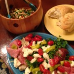 Antipasto, cannellini bean salad and fresh pizza bread