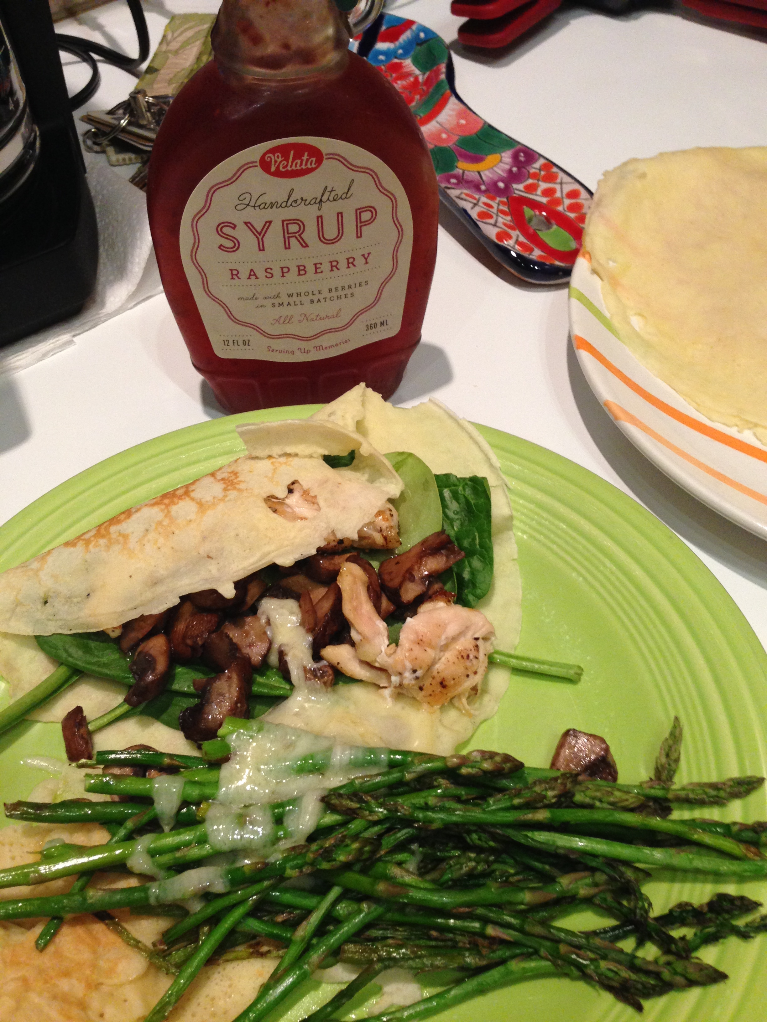 Savory crepes paired with grilled chicken