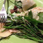 Chicken, asparagus, spinach and mushrooms combine for savory and fresh tasting crepe fillings.