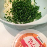 Preparing ingredients for parsley & cheese casserole