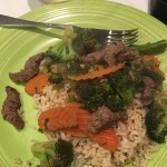Quick dinner with veggies, meat and rice