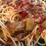 Pasta with ground venison, tomatoes and sautéed eggplant