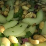 Cucumber salad is a refreshing complement to many BBQ meats.