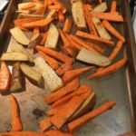 Baked sweet potato and Yukon potato