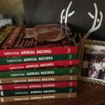 Stack of Southern Living annual cookbooks.