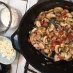 Saute mushrooms in skillet