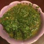 Chimichurri sauce in serving dish
