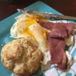 Country ham, eggs and biscuits.